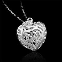 Halsband fabrikspris 925 Sterling Silver Hollow Heart Pendant Fashion Smycken Alla hjärtans daggåva till tjejer Gratis Shipp Uuici