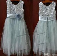 Prata / marfim lantejoulas vestido da menina de flor do bebê infantil criança crianças dress / júnior vestido de dama de honra / plissado flor / baby girl dress / vestido de natal