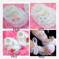 Crochet baby girl Handmade dress shoes costly lace pearl dia...