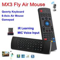 X8 Teclado con MIC VOZ Backlit 2.4GHz Wireless MX3 QWERTY IR Modo de aprendizaje Fly Air Mouse Control remoto para PC Android TV Caja MX3-M
