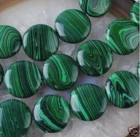 Nouveau 12mm vert multicolore Malachite Gem Coin Loose Bead 15 ''