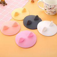 Cartoons personalizados A orelha do gato dado forma a tampa do copo do silicone Grau de alimento Resistente à prova de vazamento dos silicone das tampas para a tampa dos tampões da caneca de café