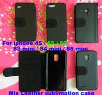 Wholsale Mix voor iPhone 4S 5S 5 C S3 Mini S4 Mini S5 Mini DIY Blanco Flip Leather Sublimation Case met kaartsleuf Gratis verzending 200pcs / lot