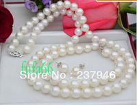 "New Fine Genuine Genuine Pearl Jewelry PERFETTO 20 ""8-9MM BIANCO PERLA AKOYA SET COLLANA 14KT"