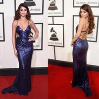 Celebrity Selena Gomez Rode Tapijtjurken Spaghetti Cutway Sides Sexy Mermaid Prom Jurken Lange Criss Cross Back Sexy Avondjurk