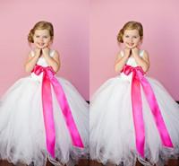 Princesse arc rose robes fille de plancher longueur enfants communion robe robe blanche pure tulle fille pageant robe pour petites filles