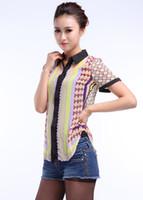 새로운 2016 패션 짧은 소매 프린트 블라우스 셔츠 여성용 캐주얼 OL 여름 옷깃 기하학적 패턴 탑 S-L