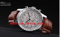 الساعات الفاخرة الفضة الكوارتز حركة Navitimer Dive ساعات رجالي براون جلد الفرقة الأبيض الهاتفي الساعات