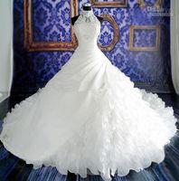 Vestidos de novia de color blanco Vestidos de novia de encaje Vestidos de novia con cuentas de apliques de encaje Cuello alto Sin mangas Cremallera Volver Vestidos de novia de organza