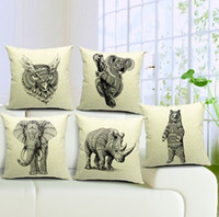 black white style wild animal pattern elephant rhinoceros cu...