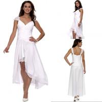 프론트 쇼트 롱 백선 아가씨 화이트 쉬폰 하이 로우 웨딩 드레스 플라이 새 도착 저렴한 웨딩 드레스