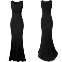 2015 New Fashion simple prom dresses scoop long floor length mermaid evning party gowns black sexy formal dresses