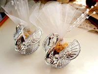 2015 Yeni Düğün Iyilik Akrilik Gümüş Swan Tatlı Düğün Hediyesi Jewely Şeker Kutusu Şeker Hediye Kutusu Düğün Iyilik Sahipleri