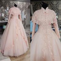 2015 robes de mariée rose clair fabuleux col haut dentelle robes de mariée avec veste col haut robe de mariée musulmane bouton avant arc dentelle