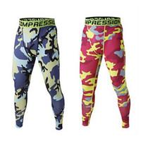 Novo 2015 homens calças de camuflagem calças de fitness homens esporte ginásio de treinamento de treinamento de compressão calças de ciclismo calças corredores