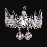 Cristales de lujo Croquinas de boda barrocas con pendientes Plateado con cuentas de plata Tiaras Rhinestone Head Pieces Barato Accesorios para el cabello Pageant Crown