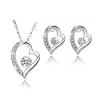 Heart Zircon Necklace Earrings Set love life cristal collar de diamantes conjunto párrafo corto cadena de clavícula joyería de las mujeres Set 8025