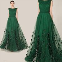 2016 Atacado Elie Saab Vestidos Modest Vestido de Noite Sexy Ruched Bateau Neck Elegante Verde A Linha Applique Chiffon Celebridade Formal Vestidos
