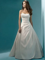 2015 nouvelles robes de mariée perle une ligne bretelles perles robes De Noiva parole longueur jardin robes de mariée QS42