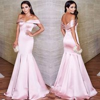 2018 Pavimento Comprimento Prom Vestidos Elegante Off Shoulder Satin Mermaid Formal Evening Dresses Prom Dress Ruched Bright-Pink Evening Party Gowns