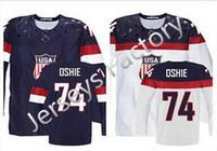 2016 Nuovo, 2014 Olympic T.J. Oshie USA Maglia Cucita Sochi 2014 Team USA 74 TJ Oshie Maglia Olimpica Maglia Americana Hockey Cina