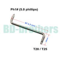 T20 / T25 + 5.0 mm Phillips PH1 # schroevendraaier met gat Z-schroevendraaiers Tool voor automatische spatbord van auto 1000pcs / lot