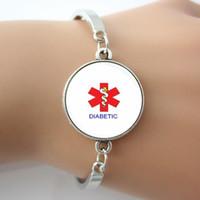 Handgemachtes wachsames medizinisches diabetisches Glasfliesen-Armband-Armband-antikes Silber, Rhodium überzogener neuer Entwurfs-Schmuck 1 Stück Heißer Verkauf