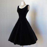 Vintage 1950 'Black Velvet Short Prom Dress 무릎 길이 칵테일 파티 드레스 (Bow 2015) 새 홈 커밍 졸업 드레스