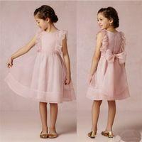 2020 Новое милое розовое платье из органзы с цветочными платьями для девочек с бантом длиной до колен, юбка для первого причастия