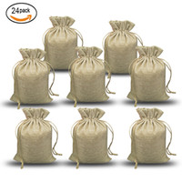 NATURAL BURLAP BAGS Candy Gift Bags Wedding Party Favor Pouc...