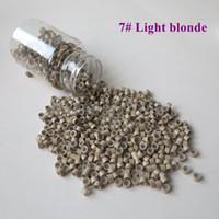 Toptan 1000 adet / şişe 5 * 3 * 3mm 7 # Işık sarışın Alüminyum Silikon Kaplı Mikro Yüzük / Linkler / Boncuk Tüy İnsan Saç Uzantıları için