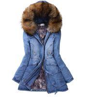 En gros-hiver femme manteau 2015 coton fourrure à capuchon veste en jean poches manteaux en jean FreeShipping