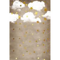 White Cloud Gold Stars Fotografia Fondali in vinile Tessuto Bambino appena nato fotografico Wallpaper Bambini Bambini Studio sfondo fotografico