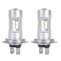 H7 21W LED 자동차 전구 2835 SMD 12V 6500K 화이트 LED 전구 높은 빔 DRL 낮 실행 조명 범용 LED 램프