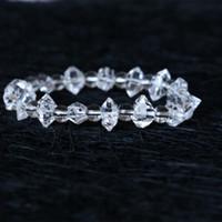 Alta Qualidade Genuíno Herkimer Natural Mão Diamante Lapidado Nugget Rocha Quartzo Rocha Beads Trecho Pulseira 05007