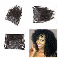 3a, 3b, 3c grampo em extensões do cabelo brasileiro kinky encaracolado extensões de cabelo grampo de cabelo humano trama Natural Preto 7 pcs 120 g / lote G-EASY freeship