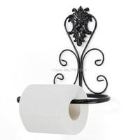 Gros- toilettes Vintage fer papier serviette Rouleau Porte-salle de bains support mural en rack Noir chaud H06