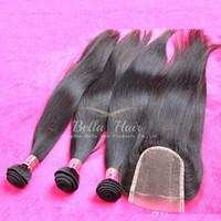 말레이시아 인간의 머리 Wefts 클로저 직선 머리카락 확장 3 piece 레이스 폐쇄 세 부분 4pcs / lot 자연 색상 Bellahair