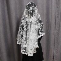 طبقة واحدة حجاب الزفاف قصيرة مع زهرة الدانتيل الجميلة غطاء الوجه الحجاب الزفاف دون مشط اكسسوارات الزفاف V1116