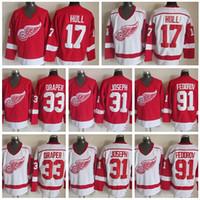 Detroit Red Wings Eishockey Trikots Sport 17 Brett Rumpf 31 Curtis Joseph 33 Kris Draper 91 Sergei Fedorov Startseite Red Road White