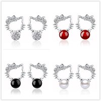 925 argent sterling plaqué Shambhala Super Flash cristal agate pierre perle chat boucles d'oreilles mode Hello Kitty bijoux F17