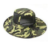 cappello di maglia camuffamento all'aperto estiva di caccia tattico escursioni Caps Uomini cappelli della benna di pesca cappelli da cowboy larga capitalizzazione pescatore Brim Unisex