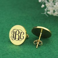 Free ship S925 Silver Monogram Earrings Gold Silver Rose Gol...