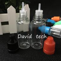 DHL-frei 20ml nachfüllbare Flasche PET Kunststoff-Tropfflaschen mit buntem kindersicheren Flaschenverschluss Lange dünnen Nadel-Spitze für E Saft leeren