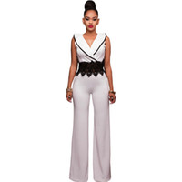 Frauen Jumpsuits Strampler Großhandel - 2021 Wide Bein Overall Overall Lange Hosen Outfits Mode Frauen Schwarz Kontrast Spitze Taille Einsatz