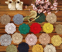 500 pcs / lot Vintage Diy À La Main 10 cm Table ronde Mat Crochet Sous-verres Zakka Doilies Tasse Pad Props