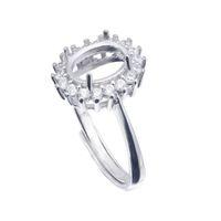 Yarı Dağı Yüzük Ayarları Ile Oval Taş Yan CZ Boş Bankası Katı 925 Ayar Gümüş Kadınlar Takı Gelin Nedime Düğün Hediyeleri