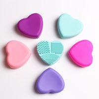 다채로운 심장 모양 깨끗한 메이크업 브러쉬 씻어 브러시 실리카 장갑 수세미 보드 메이크업 브러쉬에 대한 화장품 청소 도구