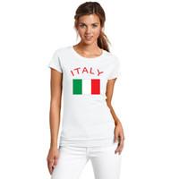 إيطاليا جماهير يهتف Nationa Flag تي شيرت 2016 كرة القدم الأوروبية الرياضة القمصان 100 ٪ قطن اللياقة البدنية الصالة الرياضية تيز قمصان للنساء