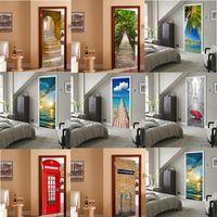 40 стиль 3d самоклеящиеся двери наклейки дома декор DIY плакат ПВХ водонепроницаемый дверной росписи наклейки наклейки наклейки на стену